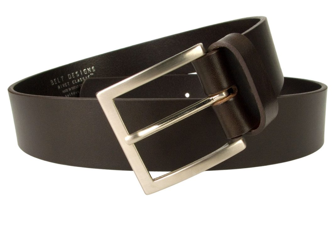 Dark Brown Leather Jeans Belt. Superior Quality Mens Jeans Belt Made In UK By British Craftsmen. Top Quality Full Grain Italian Leather. Strong and Long Lasting. Part of our Rivet Classic Collection. 1.57 inches Wide (4cm) and Approx. 4mm Thick Heavy Leather for a Long Lasting Belt.