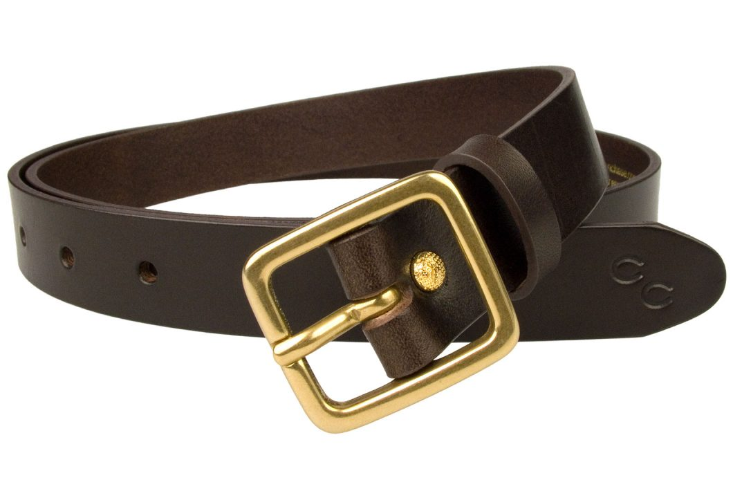 Dark Brown Narrow Leather Belt With Solid Brass Buckle