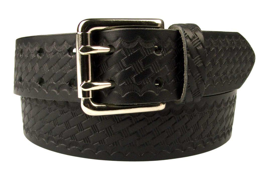 Basket Weave Embossed Leather Duty Belt MADE IN UK
