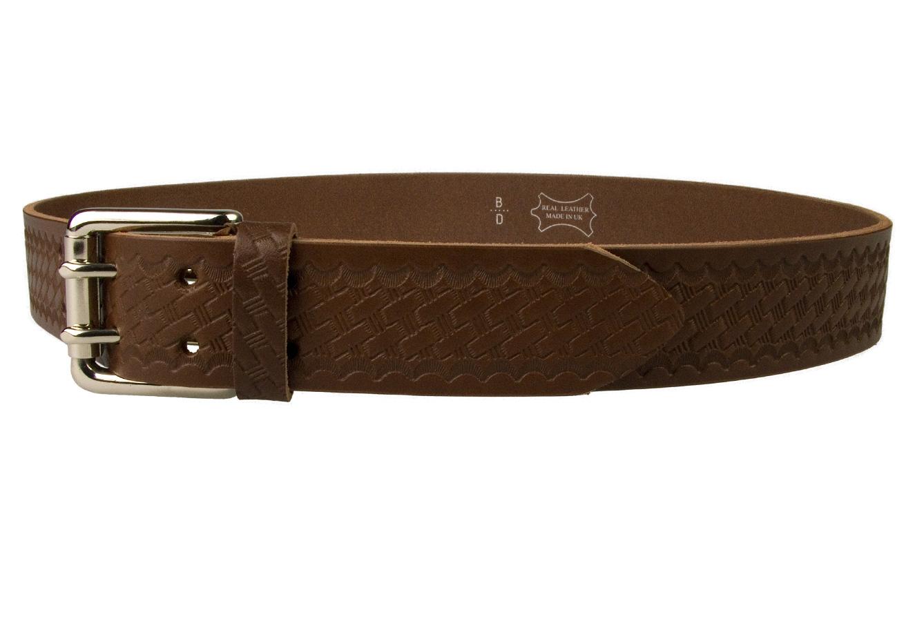 Brown Basket Weave Embossed Leather Duty Belt MADE IN UK ...