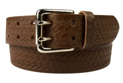 Brown Basket Weave Embossed Leather Duty Belt Made In UK
