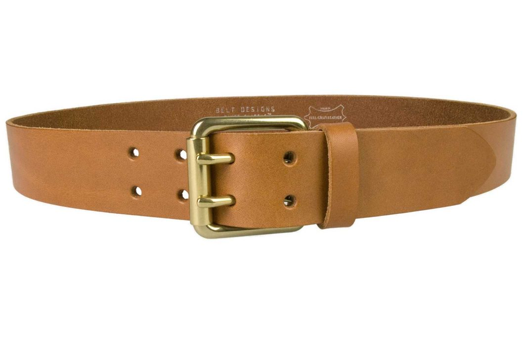 Light Tan Leather Jeans Belt With Solid Brass Buckle, 1.57 inch (4cm) Wide. Two Prong Roller Buckle. Italian Full Grain Leather. Leather Approx. 3.5 - 4mm thick. Made In UK by British Craftsmen. Can be used as Duty Belt / Tool Belt.