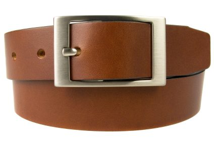 Tan Leather Belt British Made. Full Grain Italian Leather. Italian Made Buckle.
