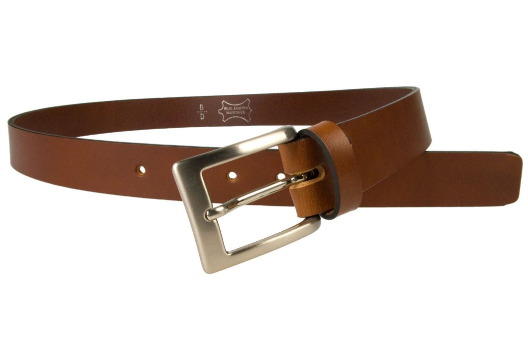 Tan Leather Belt UK Made 1 3/16 inch Wide