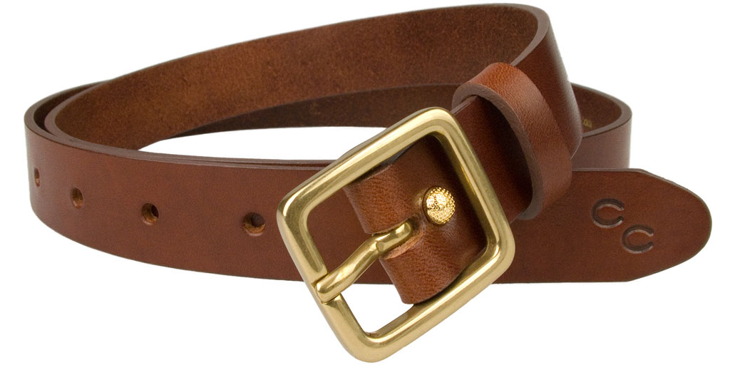 A womans lacquer belt and a leather belt.