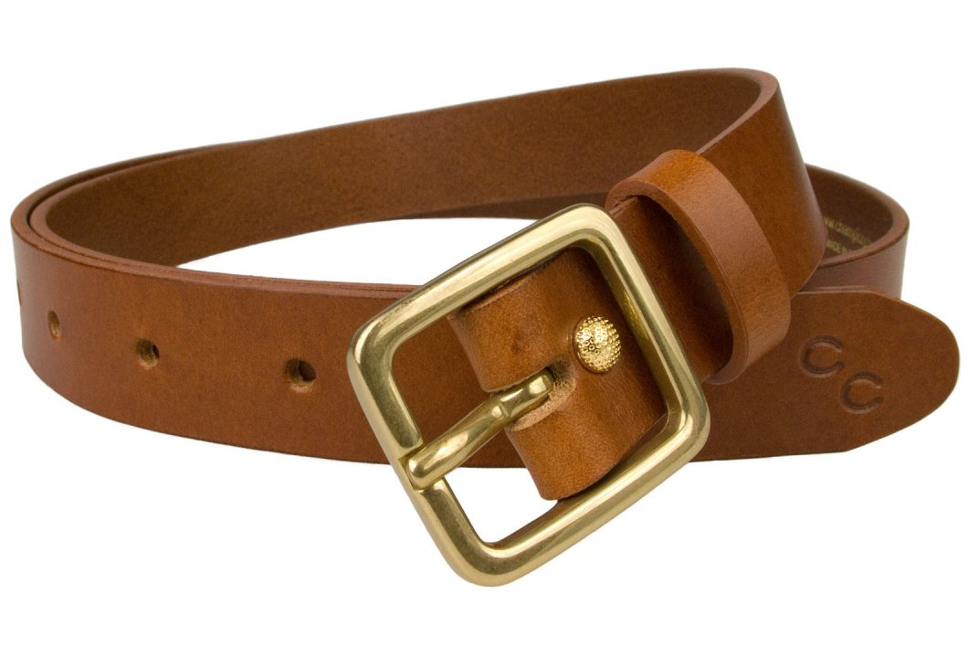 Womens Tan Leather Belt Solid Brass Buckle 1 Inch Wide
