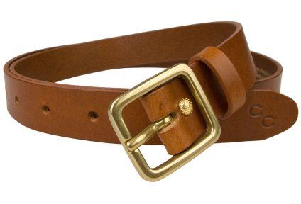 Womens Tan Leather Belt Solid Brass Buckle 1 Inch Wide