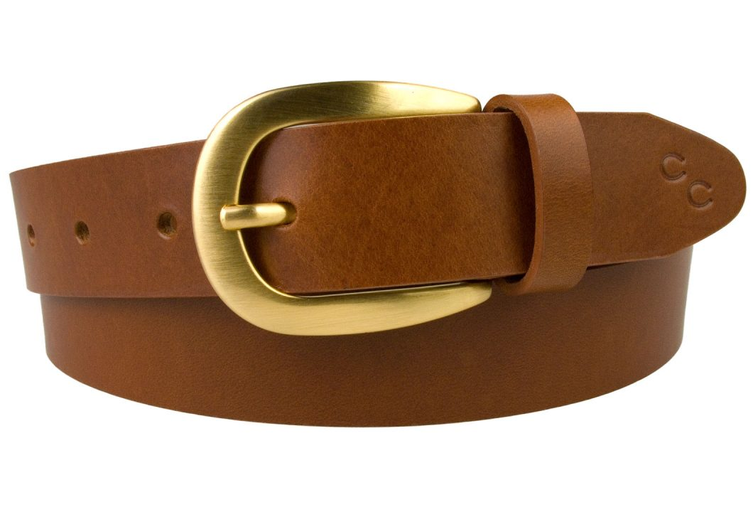 Womens Tan Leather Belt With Brushed Gold Buckle. Made In UK By Skilled British Craftsmen. Italian Full Grain leather and Italian Made Gold Plated Buckle.