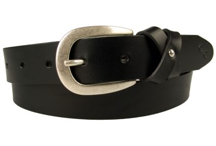 Womens Black Leather Belt – Stylized Bow Loop. 3cm wide Black belt with bow loop. Made In UK By Skilled British Craftsmen. Full grain Italian vegetable tanned leather and silver plated Italian made buckle.