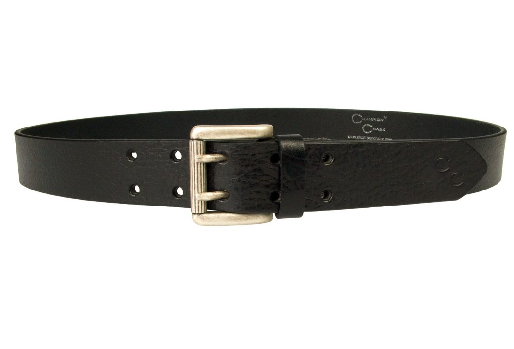 Womens Supple Glazed Black Leather Jeans Belt. Made In UK By Skilled British Craftsmen. Made With Italian Full Grain Vegetable Tanned Leather ad Italian Made Two Prong Roller Buckle. Old Silver Tone Buckle and Bright Ornate Domed Rivets. Finished with the Champion Chase Double Horse Shoe Motif to the tip of the Belt. A feminine leather belt ideal with jeans or smart casual trousers. 1 3/8 inch wide ( 35mm ). Leather approx 3.5 mm thick.