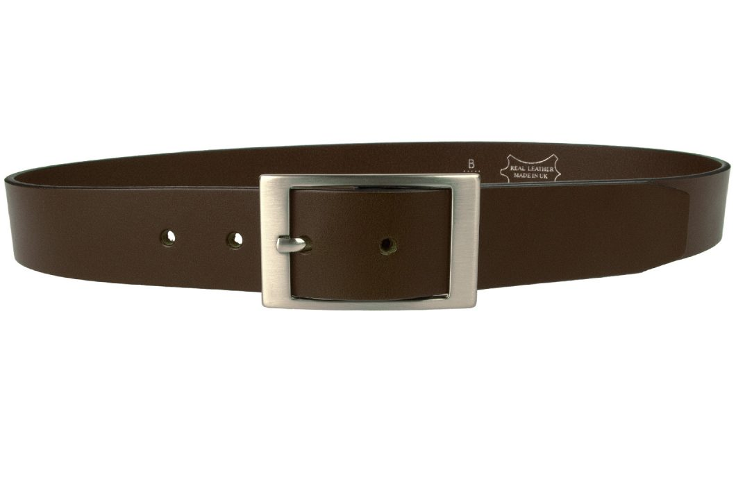 "Dark Havana Brown Leather Belt - 1 3/8"" Wide. Made In UK with Full Grain Italian Vegetable Tanned Leather. Approximately 4mm thick. Ideal with smart pants or jeans."